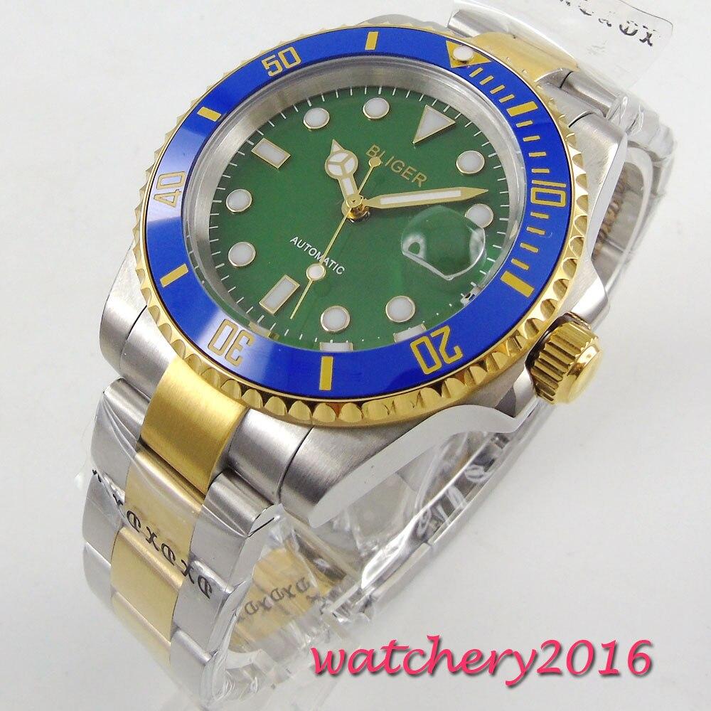 40mm Bliger Green dial Sapphire Glass Luminous Marks Blue ceramic bezel Newest Hot 2017 Automatic Mechanical Men's Wristwatches коньки onlitop 223f 37 40 blue 806164