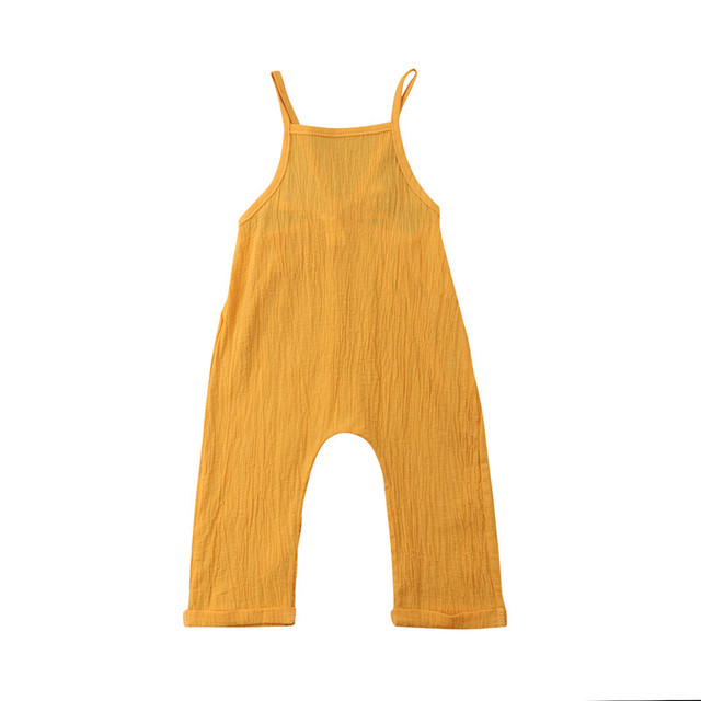 7e39427ad5cd Toddler Newborn Kid Boy Girl Strap Romper Jumpsuit Playsuit Sunsuit Outfits  Summer Cotton Linen Yellow Rompers 0-3T