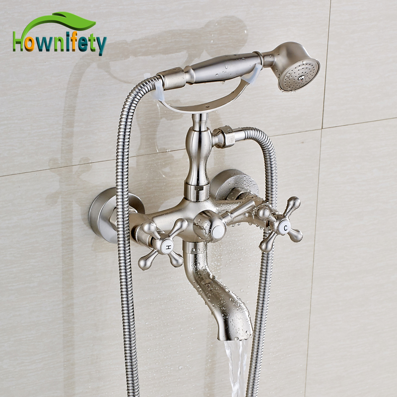 Nickel Brushed Bathtub Faucet Double Handles Hot and Cold Water Mixer Tap with Hand Shower
