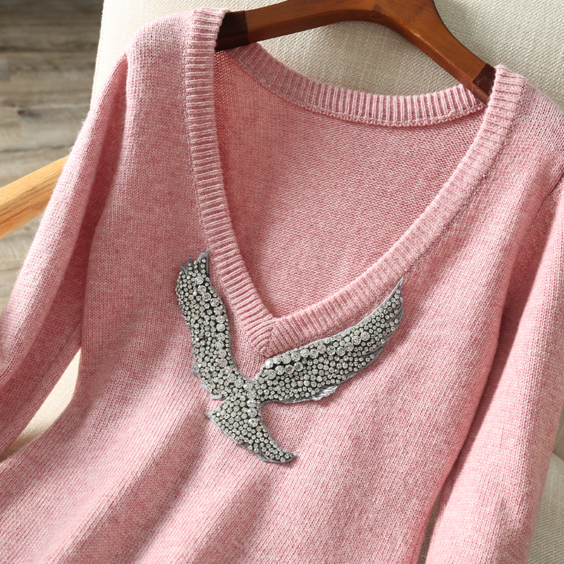 Hohe qualität wolle stricken kleid mode marke cashemere diamant sicken kleid weibliche cartoon muster woolen kleid wq1604 großhandel - 4