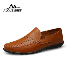 Купить с кэшбэком ALCUBIEREE Men Casual Leather Shoes Slip-on Breather Comfortable Men Shoes Summer Sapato Masculino