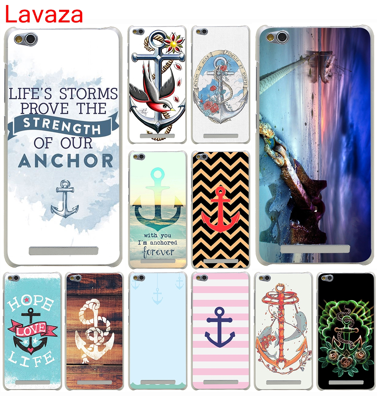 Lavaza Vintage Nautical Anchor White on Brown Wood Grain Hard Case for Xiaomi 6 5 5s Plus Redmi 3 4 Pro 4 Prime 4A Pro 4 4X