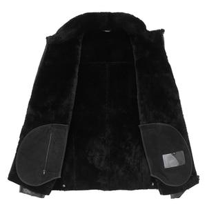 Image 3 - Gours Winter Echtem Leder Jacken für Männer Schwarz Schaffell Pilot Jacke und Mäntel Warme Doppel konfrontiert Flug Anzug Neue 4XL