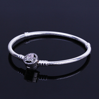 Authentic 925 Sterling Silver Poetic Blooms Clasp Bracelets Basic Snake Chain Fit European Charms Bracelets DIY