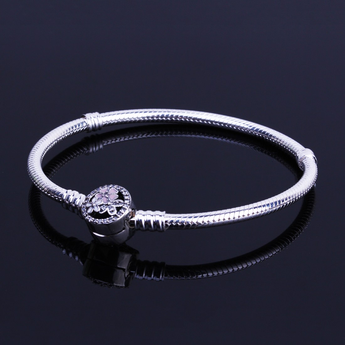 Authentic 925 Sterling Silver Poetic Blooms Clasp Bracelets Basic Snake Chain Fit European Charms Bracelets DIY Women Jewelry