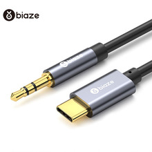 Biaze USB C tipi araç AUX ses kablosu 3.5mm Jack dişi hoparlör kablosu kulaklık kulaklık AUX kablosu xiaomi Huawei Samsung için