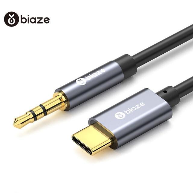 Biaze USB Typ C Auto AUX Audio Kabel zu 3,5mm Jack Weibliche Lautsprecher Kabel Für Kopfhörer Headset AUX Cord für Xiaomi Huawei Samsung