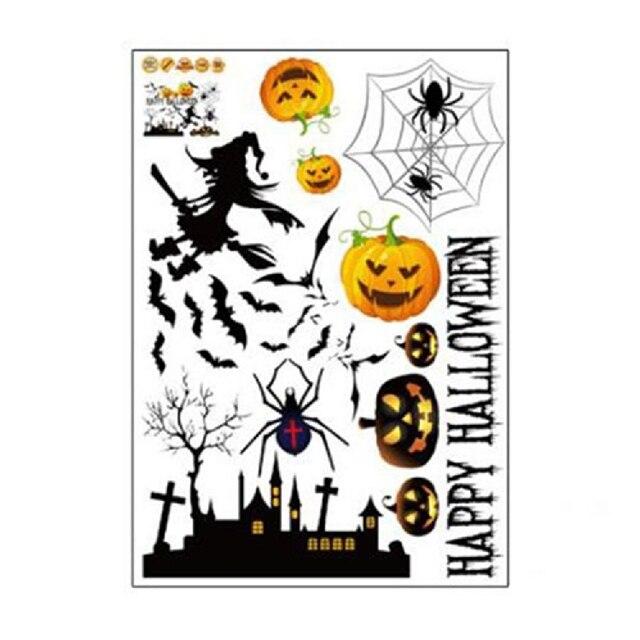 Halloween Stickers Hallowmas Pumpkin Bats Wall Sticker Decal Devil Monster  Witch Flying Halloween Window Sticker Showcase