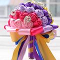 2017 Bridal Bridesmaid Wedding Bouquet Cheap Luxury Crystal Pearls Rainbow Handmade Artificial Rose Flower Bridal Bouquets