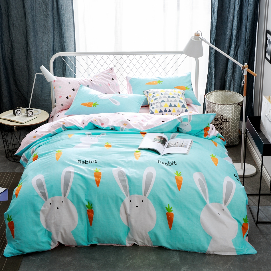Light blue bedding for girls - Light Blue Duvet Cover Set Cartoon Rabbit Quilt Cover 100 Cotton Bed Sheets Pillow Case