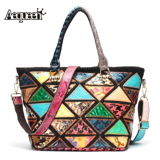 e16edef42314 AEQUEEN Genuine Leather Women Shoulder Bags Triangle Pattan Patchwork  Colorful Vintage Messenger Bags Crossbody Ladies Handbags