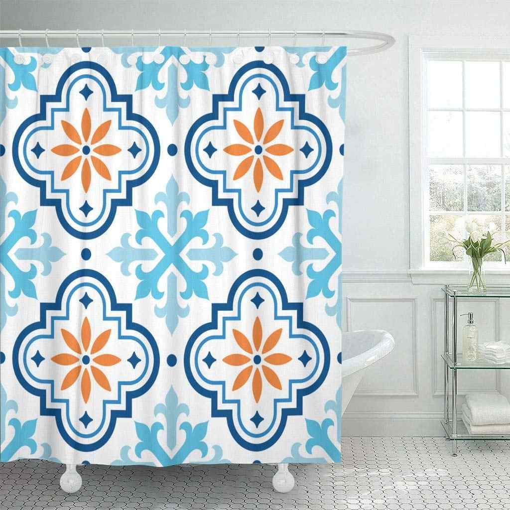 Detail Feedback Questions About Shower Curtain With Hooks Navy Shape Spanish Pattern Moroccan Tiles Design Blue And Orange Mosaic Abstract Bath Curtains On