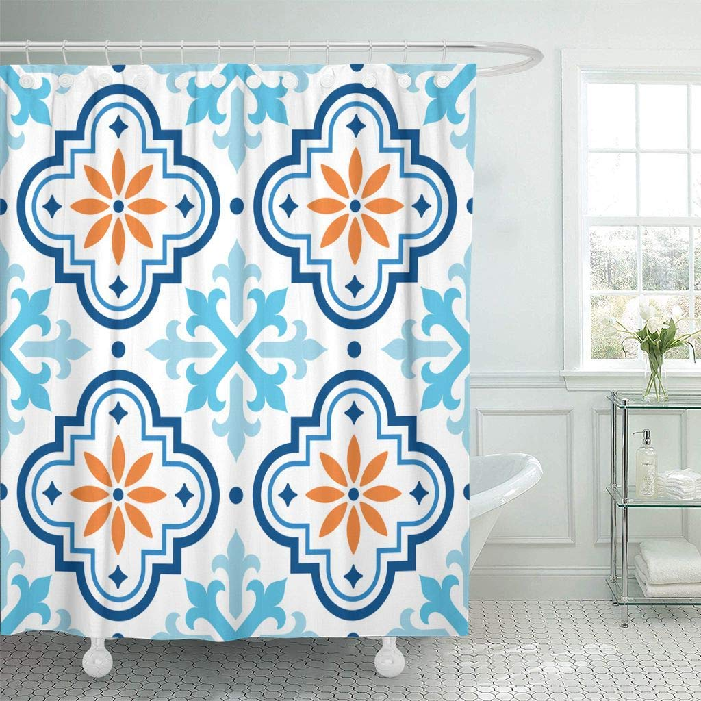 shower curtain with hooks navy shape spanish pattern moroccan tiles design blue and orange mosaic abstract bath curtains
