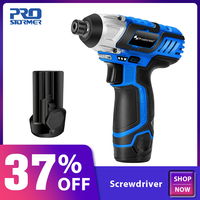 PROSTORMER 100NM Electric Screwdriver 12V Cordless Drill Lithium Battery Rechargeable Hexagon Power Cordless Screwdriver Screw