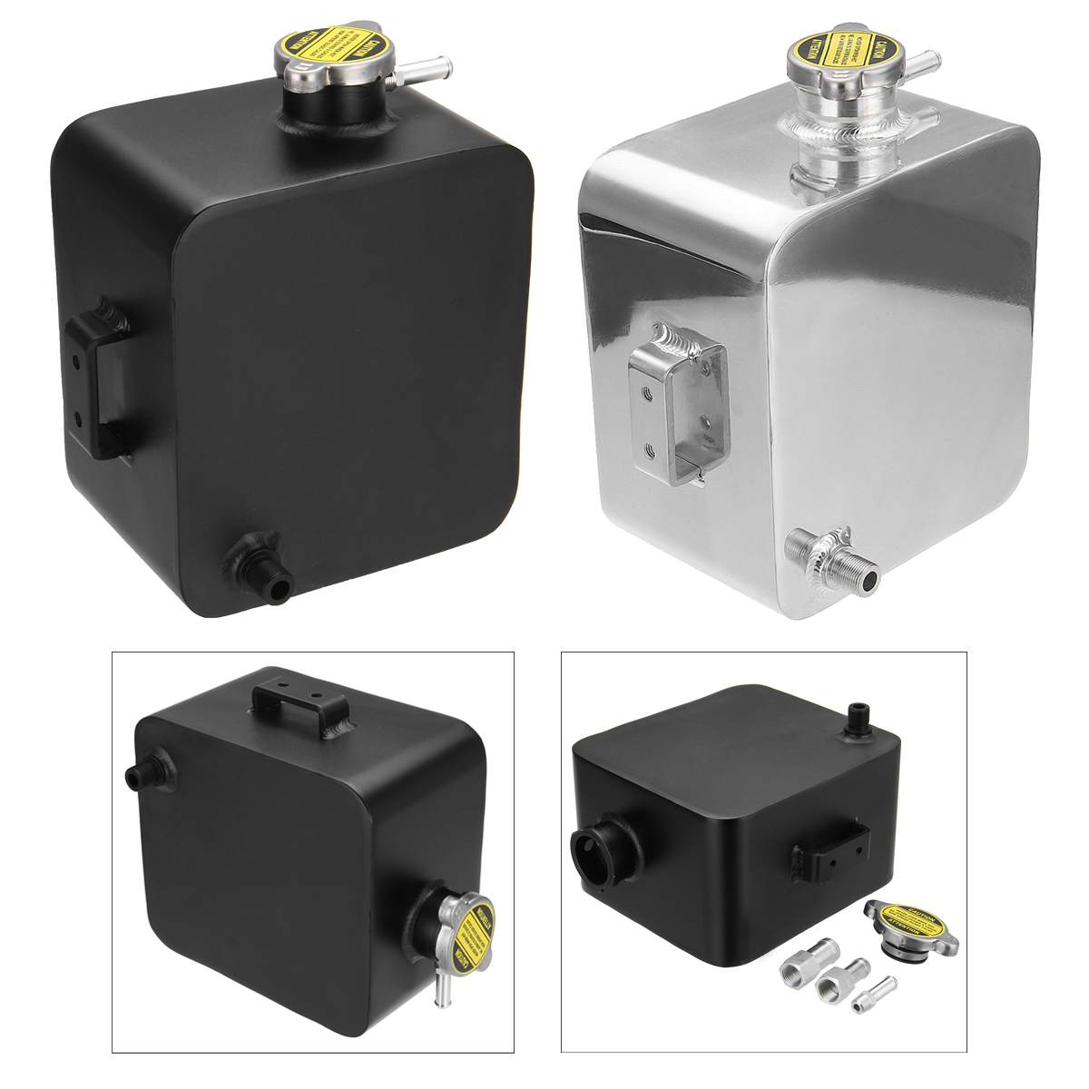 2.5L Universal Aluminum Radiator Coolant Expansion Tank  For Ford Bmw