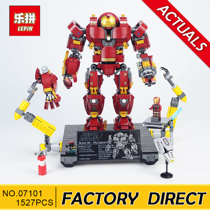 Lepin 07101 1527Pcs Super Hero Series The legoing 76105 Iron Man Anti Hulk Mech Set Kid Toy Building Bricks Blocks Model Gifts цена