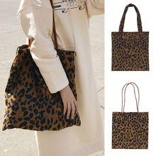 Corduroy Shopping Bag Reusable Tote Handbag Leopard Pattern Shoulder Bags Shoppers