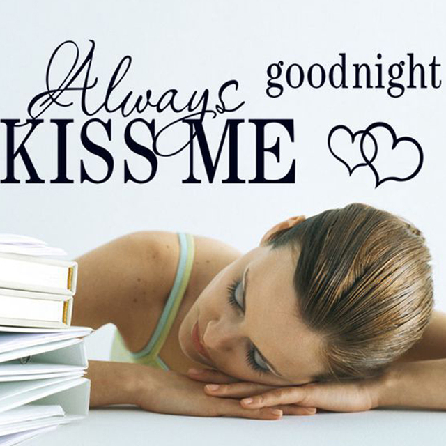 Wall Sticker Quote- Always KISS ME Goodnight | Over bed wall decor |  Bedroom wall