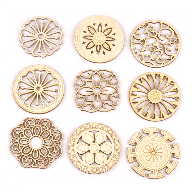 5Pcs Round/square Lace Pattern Unfinished Wood Slices DIY Crafts For Wooden Ornaments DIY Scrapbook Home Decor Accessories M2173