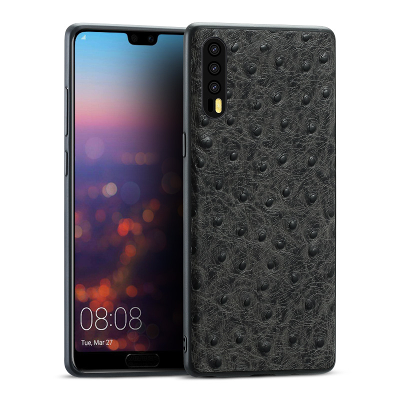 brand phone case ostrich grain full wrapped phone case For Huawei P20 Pro P10 plus phone case full handmade custom processing in Half wrapped Cases from Cellphones Telecommunications