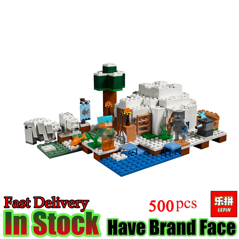 lepin My World Minecraft The Polar Igloo Bear House like 21142 Alex Action Figures Building Blocks Set Bricks toys for kids lepin my world 406pcs classic tree house legoingly minecraft model figures building blocks bricks kids toys for children gift
