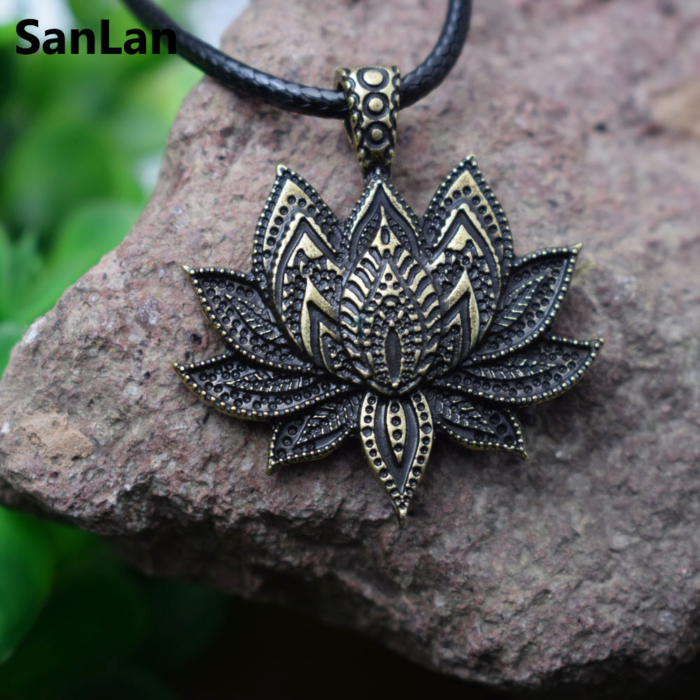 SanLan vintage charm Mandala Lotus Flower Pendant N