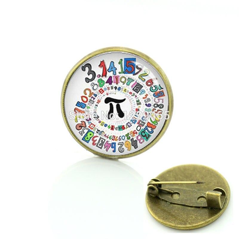Math Pi symbol metal pin vintage Mathematic Symbols chemical formula brooches formal wear chinese characters badge T763