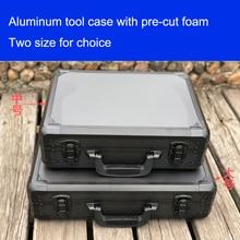 Алюминий инструмент случае чемодан toolbox коробке файла ударопрочный безопасности случае оборудование корпус камеры с нарезанные пены внутри
