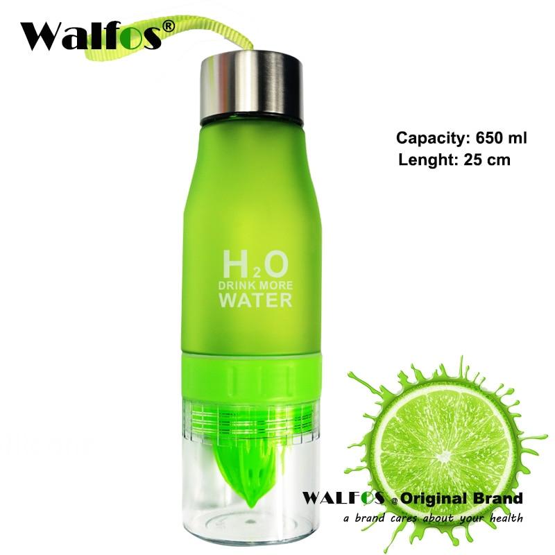 WALFOS 650ML шыны бөтелкесі H2O Лимон шырыны Жеміс Су бөтелкесі Infuser Сыртқы портативті шейкер спорттық бөтелкесі үшін Drinkware