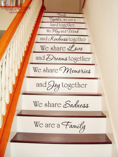 stairway decals vinyl sticker we are family family quotes decals personalized pasting. Black Bedroom Furniture Sets. Home Design Ideas