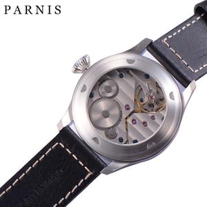 Image 4 - Mode main vent mécanique montres mâle 46mm Parnis 6498 main remontage mouvement noir cadran blanc chiffres lumineux hommes montre