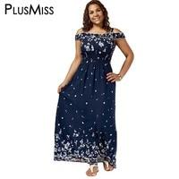 GIYI Plus Size 5XL Floral Print Cold Shoulder Maxi Beach Dress Women Dark Blue Boho Casual