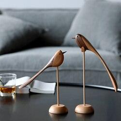 Adornos de madera danesas joyería tallada juego de madera muebles para el hogar títeres de estilo nórdico muebles para el hogar características de madera pájaro