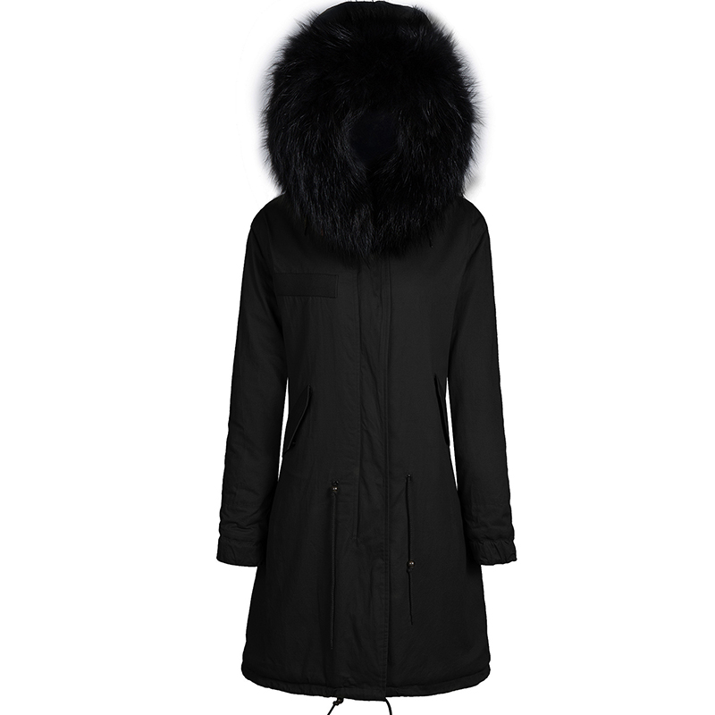 Black MeiFng brand long style all black faux fur women parka with removable raccoon collar