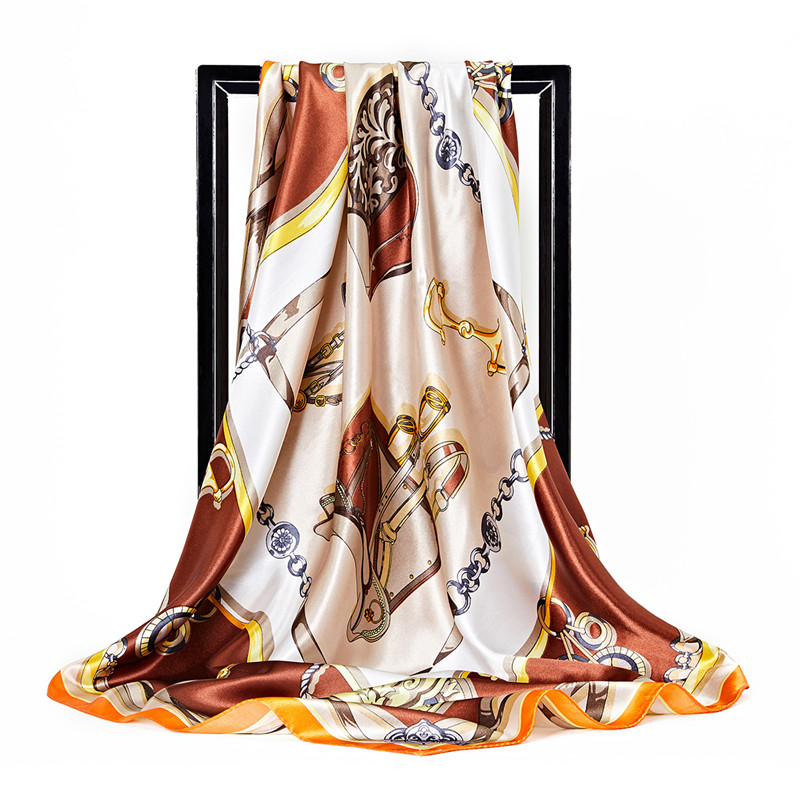 2019 New 90*90cm Luxury Brand Silk Scarf Women Fashion Carriage Chain Design Satin Large Square Scarves Lady Twill Shawl Bandana