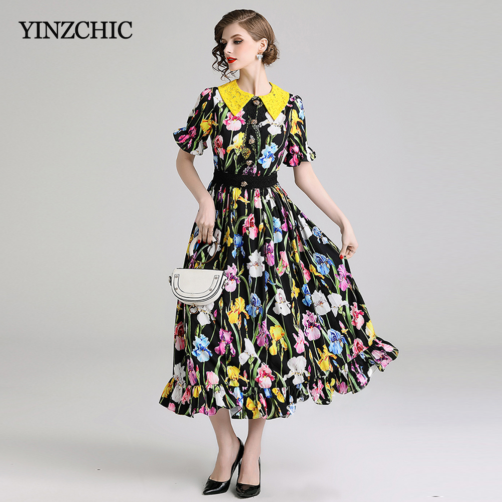 Creative Floral Dress Woman Summer Elegant Ladies Party Dress Lace Peter pan Collar A line Mid Dress Star Style Chiffon Dress