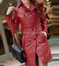 2015 Winter Top quality women's personality slim long design pu leather Trench coat detachable double-breasted Windbreaker xxxxl