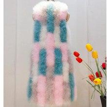 Женский жилет с натуральным страусиным пером, весна, осень, зима, индейка, длинный женский жилет