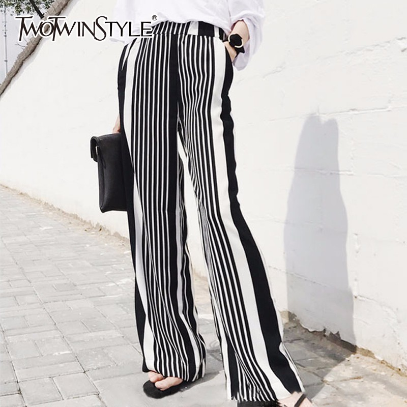 TWOTWINSTYLE Striped Wide Leg Pant For Women Chiffon Elastic High Waist Large Size Long Trouser Spring Female Fashion OL Clothes