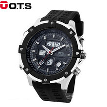 OTS Top Brand Luxury Sport Watch Auto Date Day LED Alarm Black Rubber Band Analog Quartz Military Men Digital Watches Relogio