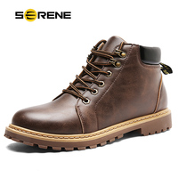 SERENE Mens Winter Snow Boots Military Tactical Male Work Safety Desert Shoes Combat Timber Motocycle Cowboy