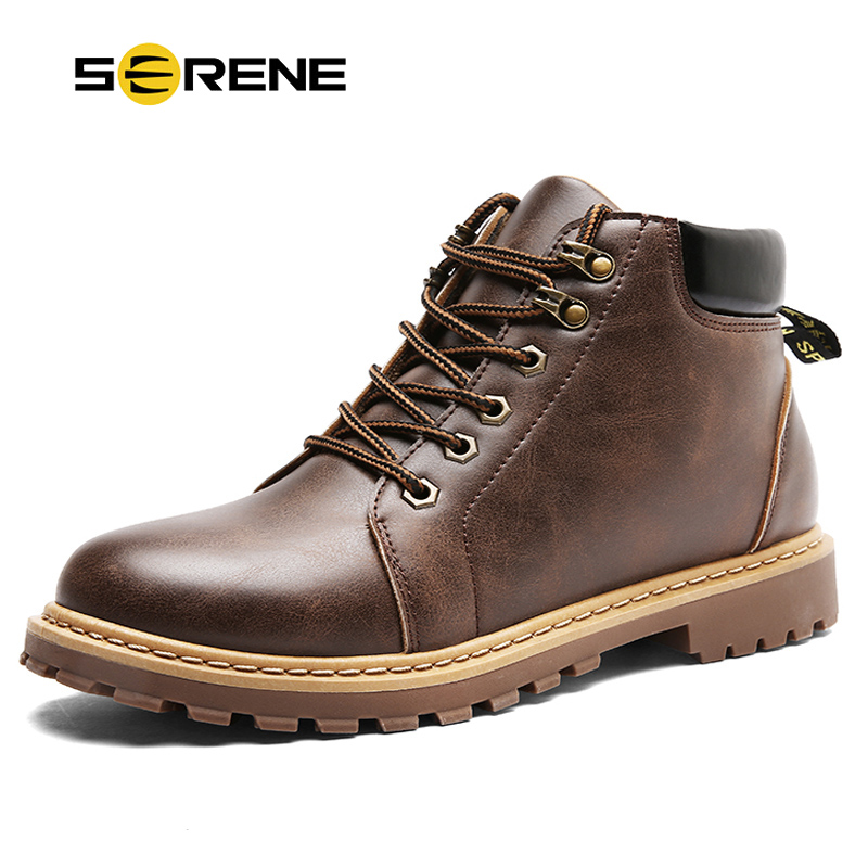 SERENE Mens Winter Snow font b Boots b font Military Tactical Male Work Safety Desert Shoes