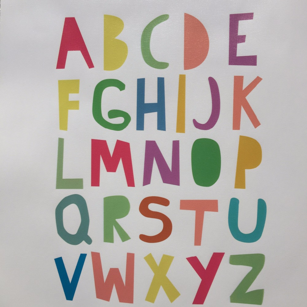 abc alphabets canvas painring mulit colors typography nursery poster