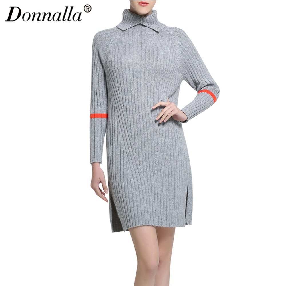 Donnalla Womem Dress Autumn Winter Long Sleeve Turtleneck Thicken Knitting Dresses Vestidos Women Sheath Bodycon Sweater Dress