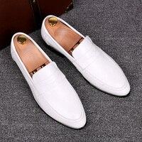 Italia белые Мокасины Кожаные модельные туфли обувь Повседневное Для мужчин тапочки для продажи 2016 оптовая продажа Chaussures Hommes En Cuir Gommini Оксфорд