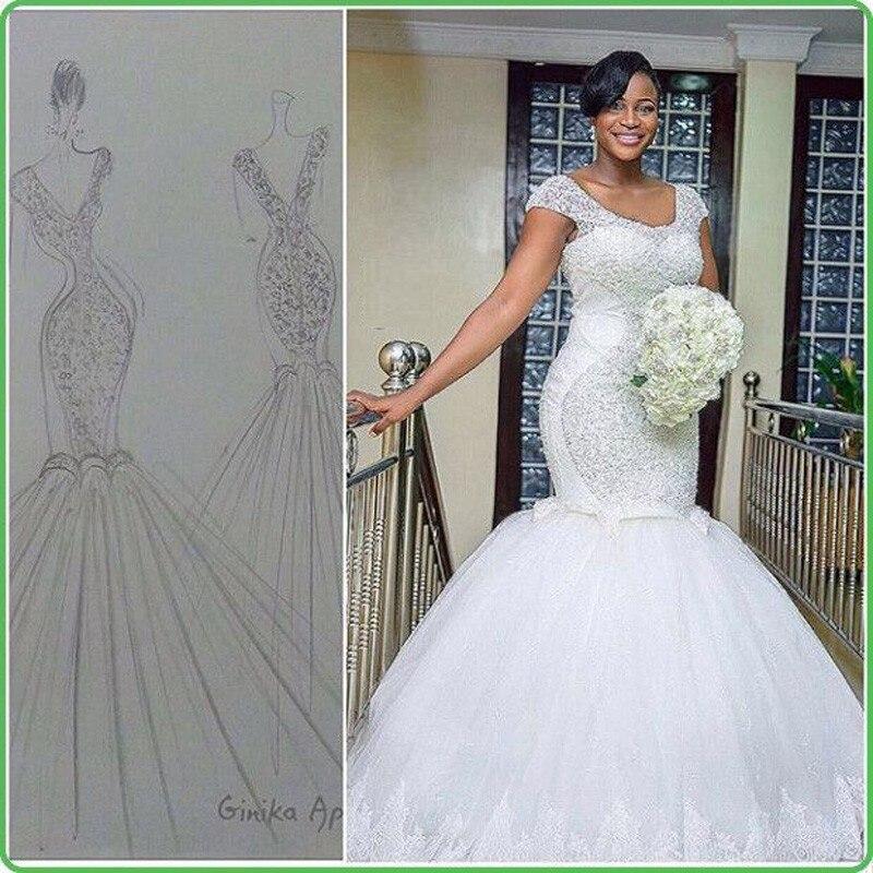 New Design Africa Wedding Dress Mermaid Hand Made Beads Vestidos