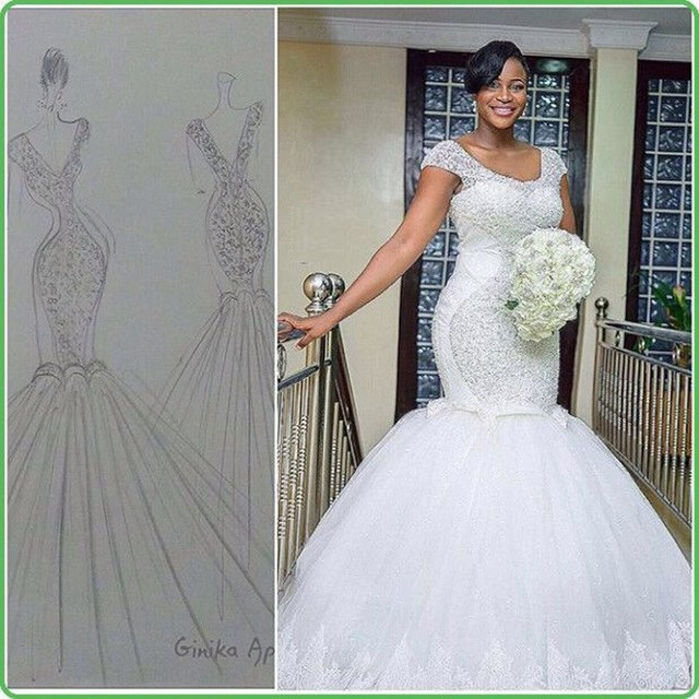 new design africa wedding dress mermaid hand made beads vestidos de