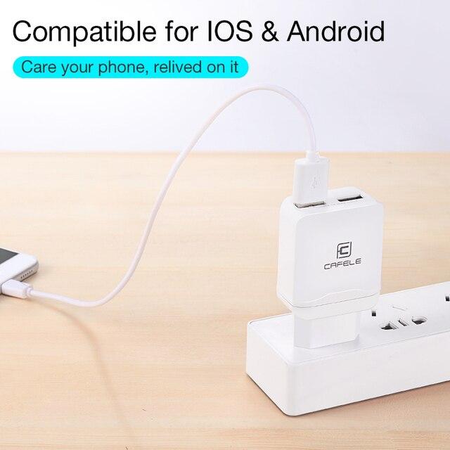 Cafele przenośna ładowarka z podwójnym usb ue/usa uniwersalna DC 5V 2.4Ax2 12W przenośna ładowarka do iPhone Samsung ładowarka do telefonu