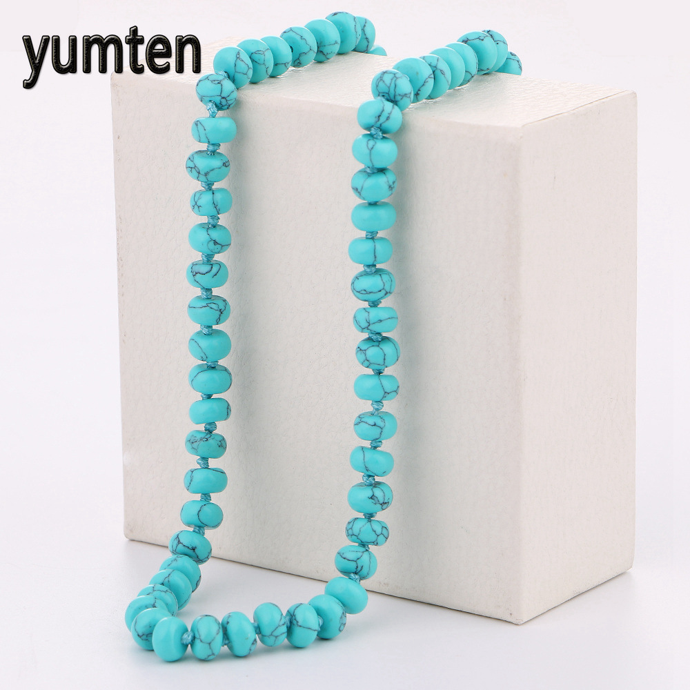 Yumten Turquoise Necklace Power Round Natural Stone Crystal Women Jewelry Jewelry Party Gift Soy Luna Neckless Mini Crossbow Bff