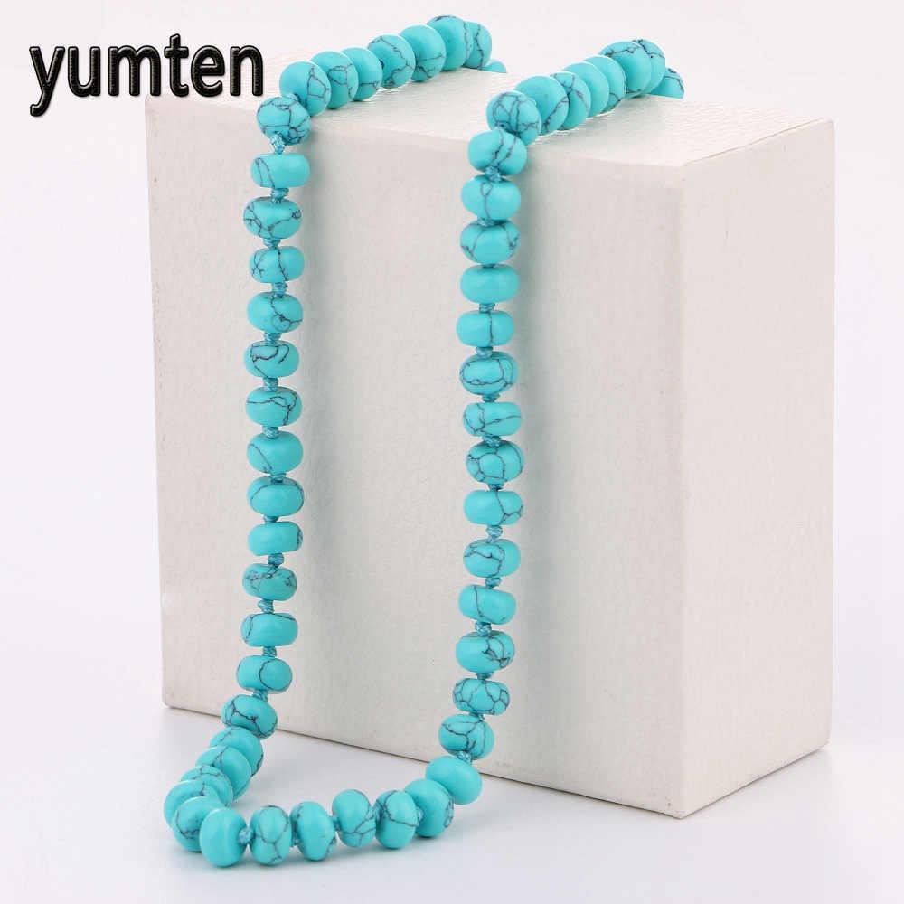 Yumten turquesa colar de energia redonda pedra natural cristal feminino jóias festa presente soja luna neckless mini besta bff